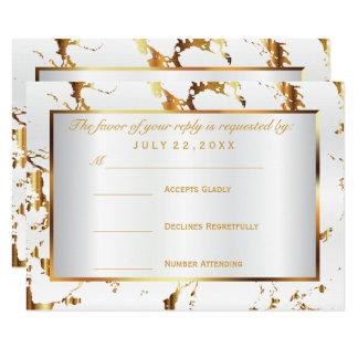 RSVP  Gold Marble and White Satin 9 Cm X 13 Cm Invitation Card