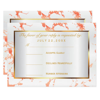 RSVP  Gold, Peach and White Satin Card