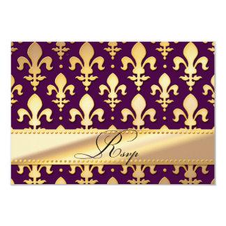 RSVP Gold Wedding Anniversary, Fleur de Lis Personalized Announcement