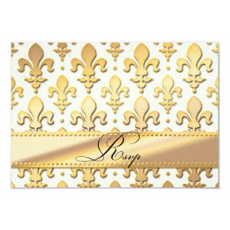 RSVP Gold Wedding Anniversary, Fleur de Lis Personalized Invitation