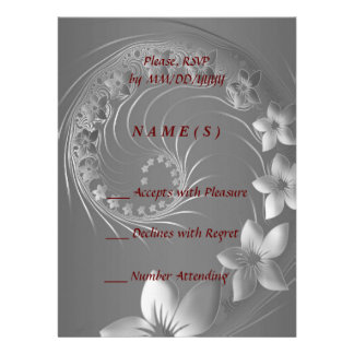RSVP - Gray Abstract Flowers Announcement