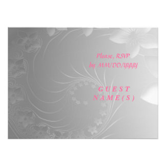 RSVP - Gray Abstract Flowers Personalized Invite