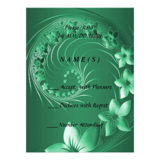 RSVP - Green Abstract Flowers Personalized Invitations