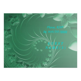 RSVP - Green Abstract Flowers Personalized Invites