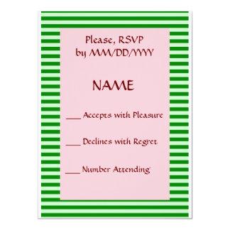 RSVP - Green Stripes, Pink Background 17 Cm X 22 Cm Invitation Card