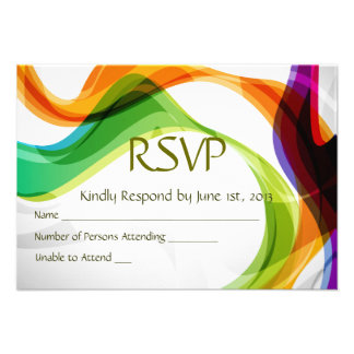 RSVP Hearts Double Infinity Rainbow Ribbons - 3B Personalized Announcements