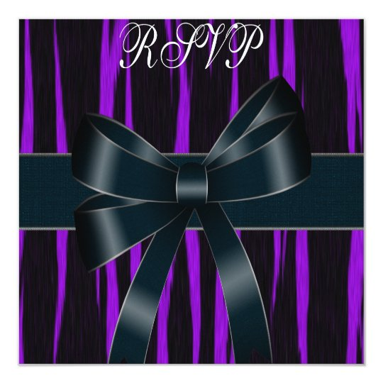 RSVP Invitation All Occasions Black Purple Bow