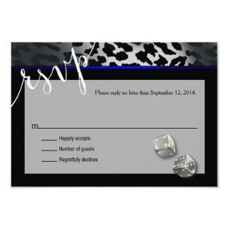 RSVP Las Vegas Art Deco Leopard black blue silver 9 Cm X 13 Cm Invitation Card