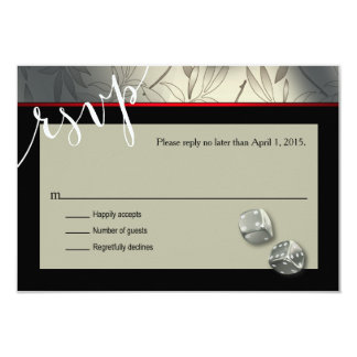 RSVP Las Vegas Art Deco | silver black 9 Cm X 13 Cm Invitation Card