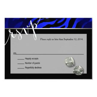 RSVP Las Vegas Art Deco Zebra | black blue silver 9 Cm X 13 Cm Invitation Card