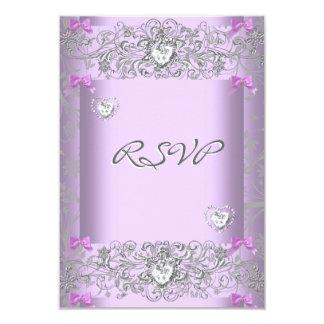 RSVP Lilac Damask Wedding White Diamond Hearts 9 Cm X 13 Cm Invitation Card