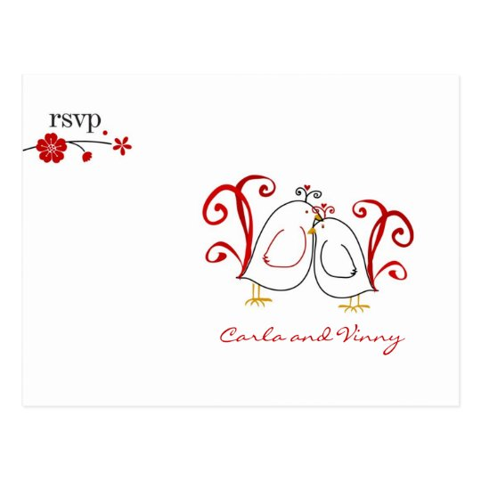 RSVP lovebirds and cherry blossoms PC Postcard