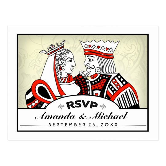 RSVP Lucky In Love King Queen Wedding PostCard