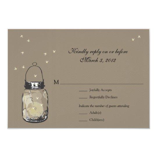 RSVP Mason Jar & Fireflies Wedding 9 Cm X 13 Cm Invitation Card
