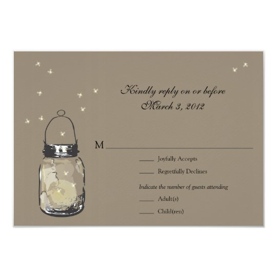 RSVP Mason Jar & Fireflies Wedding Card