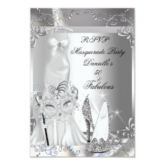 RSVP Masquerade Party Fabulous 50 Silver Announcements