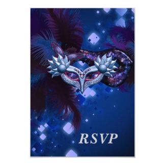 RSVP Masquerade Party Mask Black  Mardi Gras 3.5x5 Paper Invitation Card