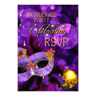 RSVP MASQUERADE Purple Gold Dance Party Card