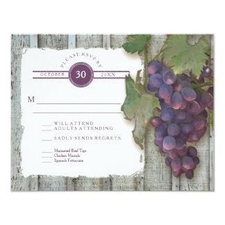 RSVP Meal Menu Options Vintage Wood n Vineyard 11 Cm X 14 Cm Invitation Card