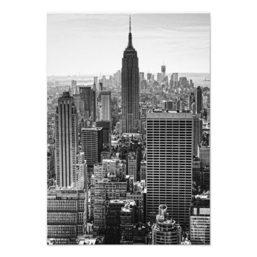 RSVP NY City Skyline Empire State Bldg, WTC BW Custom Announcements