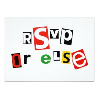 RSVP or else 13 Cm X 18 Cm Invitation Card