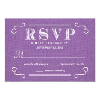 RSVP Orchid Purple Rustic Burlap Wedding Reply Card