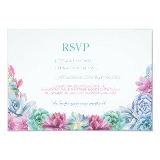 RSVP Pastel Wedding Rustic Succulents Floral Cards