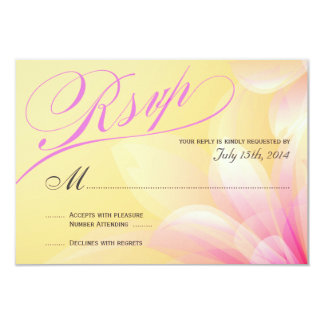 RSVP-Pastel Yellow Pink Floral 9 Cm X 13 Cm Invitation Card
