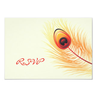 RSVP Peacock Wedding Card with Food Option 9 Cm X 13 Cm Invitation Card