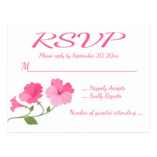 RSVP Pink Fuchsia Flowers Floral Wedding / Party Postcard