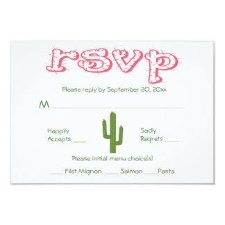 RSVP Pink & Green Cactus Party Wedding Response 9 Cm X 13 Cm Invitation Card
