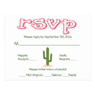 RSVP Pink & Green Cactus Party Wedding Response Postcard