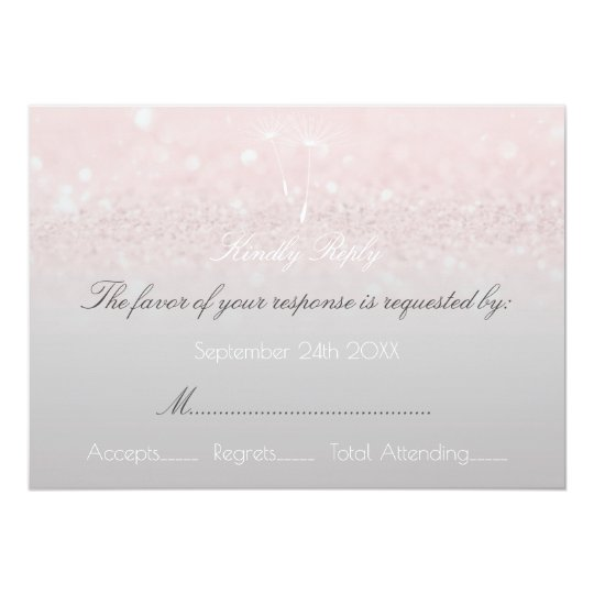 RSVP Pink Rose Glitter Gray Ombre Dandelion Card