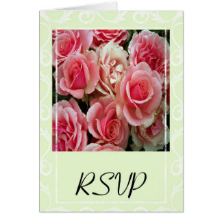 RSVP Pink Roses on Spring Green Card