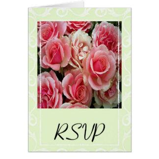 RSVP Pink Roses on Spring Green Greeting Card