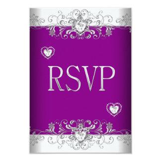 RSVP Plum Pink Wedding White Diamond Hearts Card