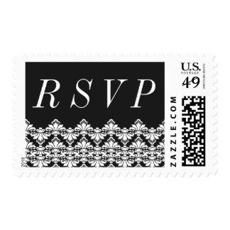 RSVP Postage Stamp Black Antique Damask