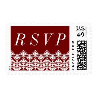 RSVP Postage Stamp Burgundy Antique Damask