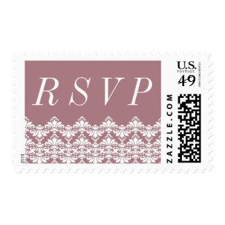 RSVP Postage Stamp Dark Mauve Antique Damask