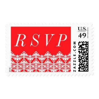 RSVP Postage Stamp Red Antique Damask