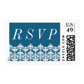 RSVP Postage Stamp Teal Antique Damask