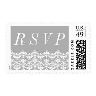 RSVP Postage Stamps Gray Antique Damask