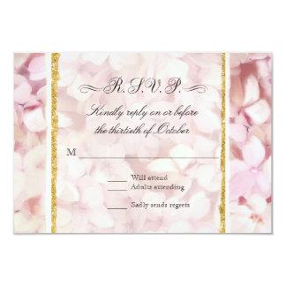 RSVP Pretty Blush Pink Faux Gold Hydrangea Modern Card