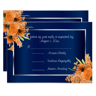 RSVP Pretty Orange Flowers on Navy Blue Card