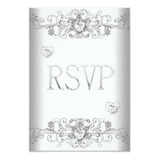 RSVP Pure White Wedding White Diamond Hearts Card