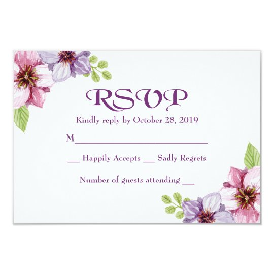 RSVP Purple Watercolor Floral Wedding Card