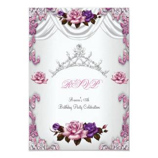 RSVP Quinceanera 15 15th White Pink Roses Tiara 9 Cm X 13 Cm Invitation Card