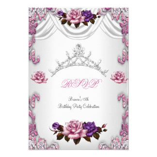 RSVP Quinceanera 15 15th White Pink Roses Tiara Personalized Announcements