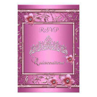 RSVP Quinceanera 15th Birthday Party Pink Tiara Invites
