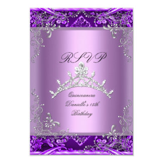 """RSVP Quinceanera 15th Birthday Party Purple Lilac 3.5"""" X 5"""" Invitation Card"""